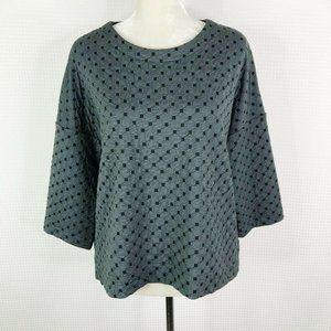 Comfy USA Top Small S Gray Black Dotted Boxy